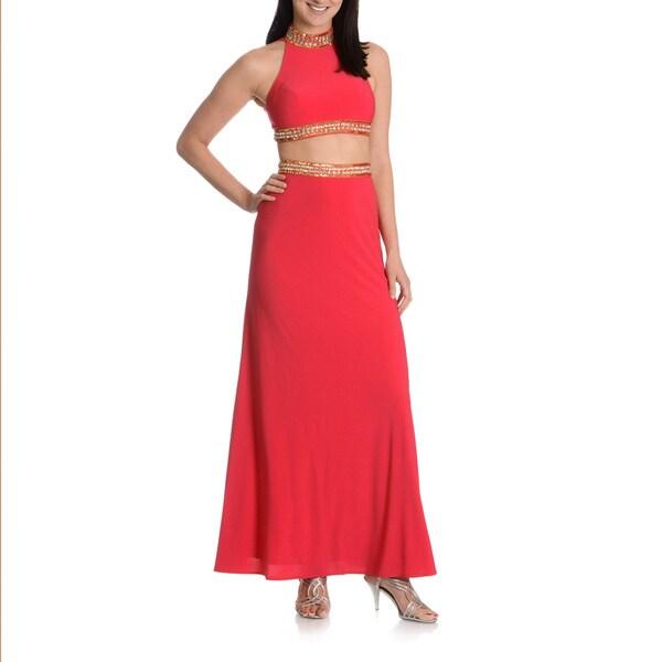 Joanna Chen New York Women's Embellished 2-piece Crop Top Evening Dress