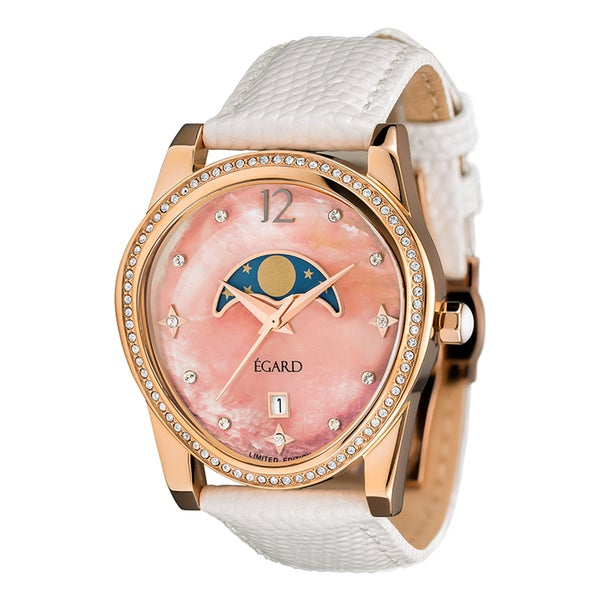 Egard Women's PSG-BEA-ROS Passages Beauty Limited Edition Round Blue Leather Strap Watch