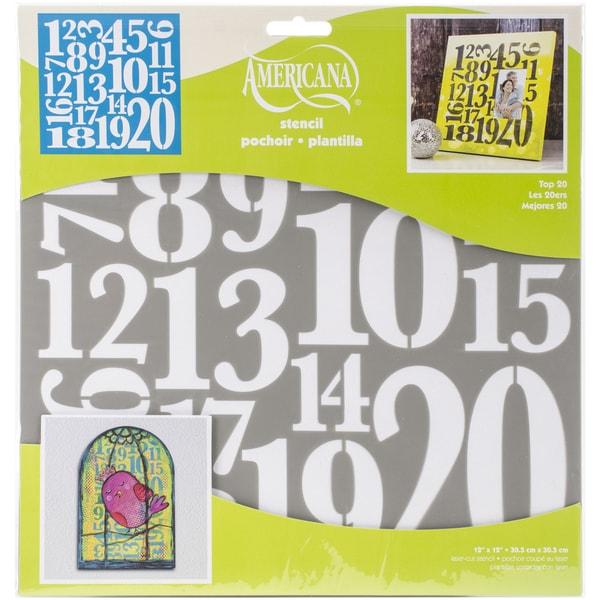 Americana Decor Stencil 12inX12in Top 20