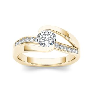 De Couer 14k Yellow Gold 3/4ct TDW Diamond Classic Bypass Engagement Ring (H-I, I2)