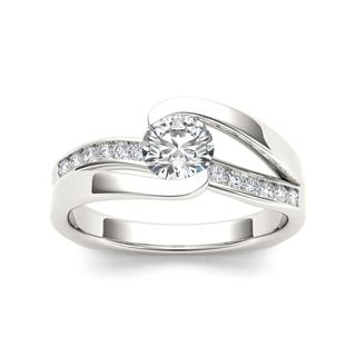 De Couer 14k White Gold 3/4ct TDW Diamond Classic Bypass Engagement Ring (H-I, I2)