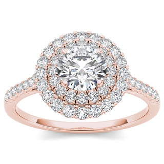 De Couer 14k Rose Gold 1ct TDW Diamond Halo Engagement Ring (H-I, I2)