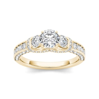 De Couer 14k Yellow Gold 1 1/5ct TDW Diamond Three-Stone Annivarsary Ring (H-I, I2)