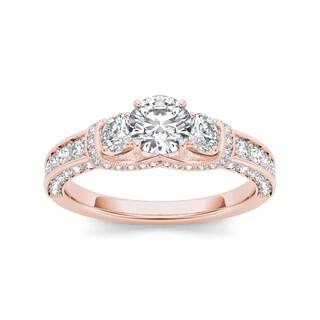 De Couer 14k Rose Gold 1 1/5ct TDW Diamond Three-Stone Annivarsary Ring (H-I, I2)