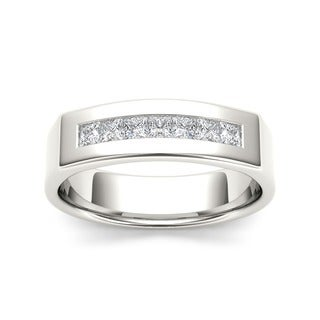 De Couer 14k White Gold 1/2ct TDW Diamond Men's Wedding Band (H-I, I2)