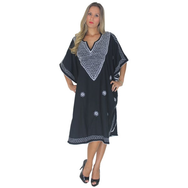 La Leela Soft Rayon Embroidery Partywear PLUS Size Short TUNIC Top Kaftan Black