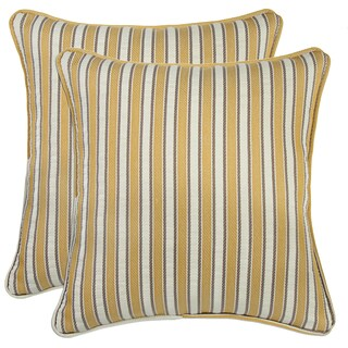 Better Living Yellow Stripe 18 inch Feather Down Accent Pillow (Set of 2)