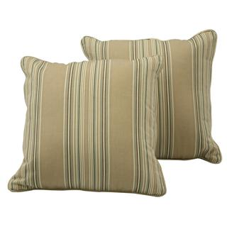 Better Living Mocha Brown Stripe 18 inch Feather Down Accent Pillow (Set of 2)