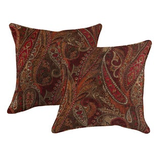 Better Living Red Wine Paisley 20 inch Feather Down Accent Pillow (Set of 2)