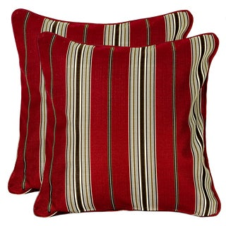 Better Living Red Stripe 18 inch Feather Down Accent Pillow (Set of 2)