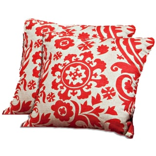 Better Living Red Floral 18-inch Feather Down Accent Pillow (Set of 2)