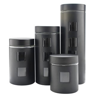 PL 4pc Canister Set w/Glass Bk