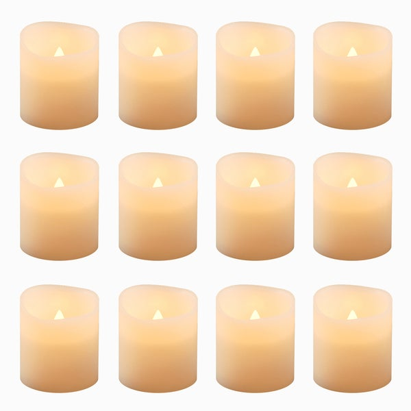 Battery Operated Amber Votive Candles (12 Count)