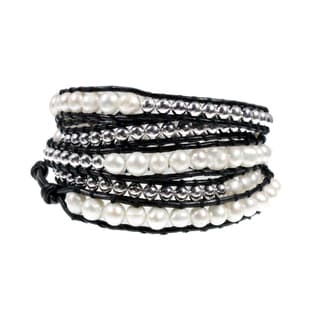 Freshwater Pearl 5x Wrap Bracelet with Silver Tone Beads on Black Leather