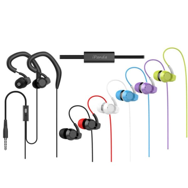 iPanda Athletic Flexible Ear-hook Earphones with Built-in Mic