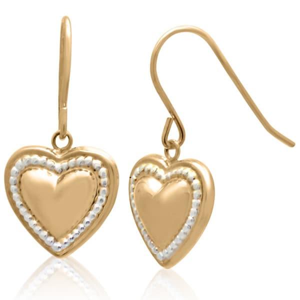14k Gold Heart-shaped Designer Dangle Earrings