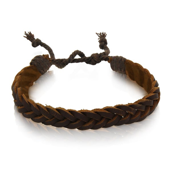 Gioelli Brown Leather Adjustable Simple Braided Bracelet
