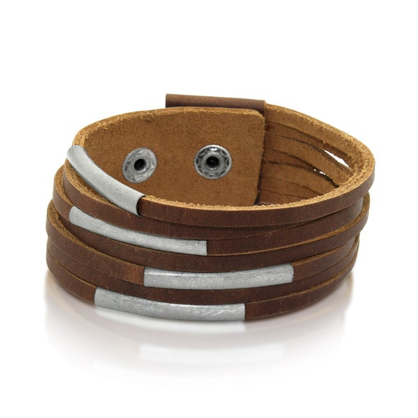 Gioelli Brown Leather Metal Slider Bracelet