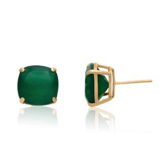 Gioelli 14k Yellow Gold 7 3/4ct Green Agate Earrings