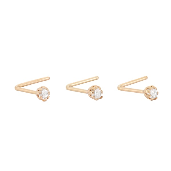 Gioelli 10k Yellow Gold Cubic Zirconia .22 Gauge Nose Ring Set