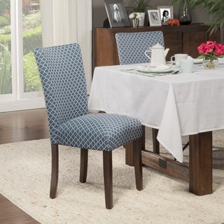 HomePop Elegance Blue and Cream Parson Chair (Set of 2)