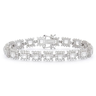 Gioelli Sterling Silver Created White Sapphire Gemstone Link Bracelet