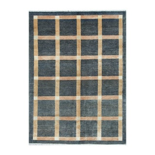 Herat Oriental Afghan Hand-knotted Tribal Vegetable Dye Gabbeh Blue/ Beige Wool Rug (4'11 x 6'7)