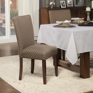 HomePop Set of 2 Elegance Brown & Tan Parson Chair