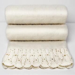 Karina Ivory Handloom Mohair Throw with Crochet Border