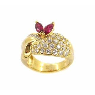 Kabella 18k Yellow Gold 1 1/3ct TDW Diamond and Ruby Ring (Size 6.5)
