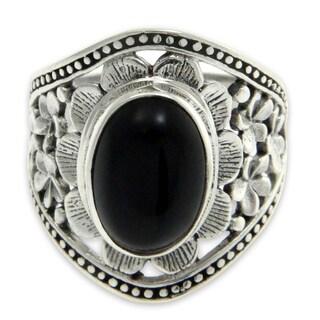 Handmade Sterling Silver Frangipani Mystery Onyx Ring (Indonesia)