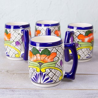 Set of 4 Ceramic 'Guanajuato Flora' Beer Mugs (Mexico)