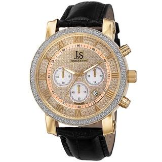 Joshua & Sons Men's Diamond Chronograph Leather Strap Watch
