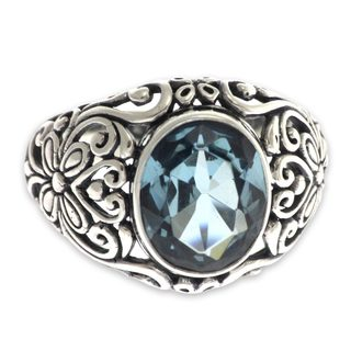 Handcrafted Sterling Silver 'Mythical Oasis' Topaz Ring (Indonesia)