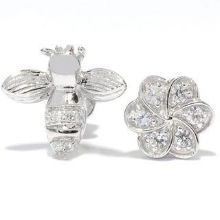 Platinum overSilver White Zircon Flower and Bee Stud Earrings
