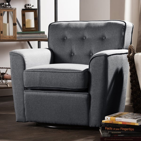 contemporary grey fabric upholstered button tufted swivel lounge chair