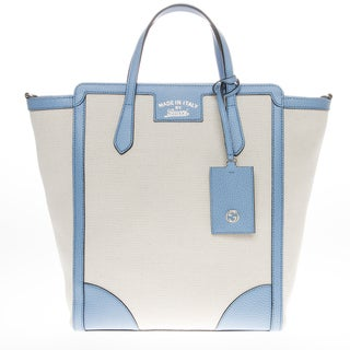 Gucci Beige/ Light Blue Tall Swing Canvas Tote