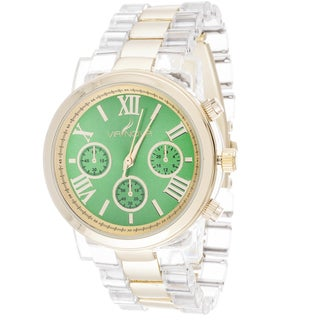 Via Nova Women's Gold Case Green Dial with Clear Plastic Watch