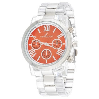 Via Nova Women's Silver Case Red Dial with Clear Plastic Watch