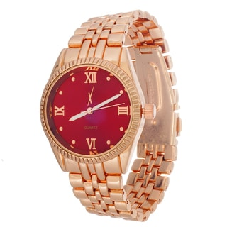 Xtreme Boyfriend Women's Rose Case and Strap / Red Dial Watch