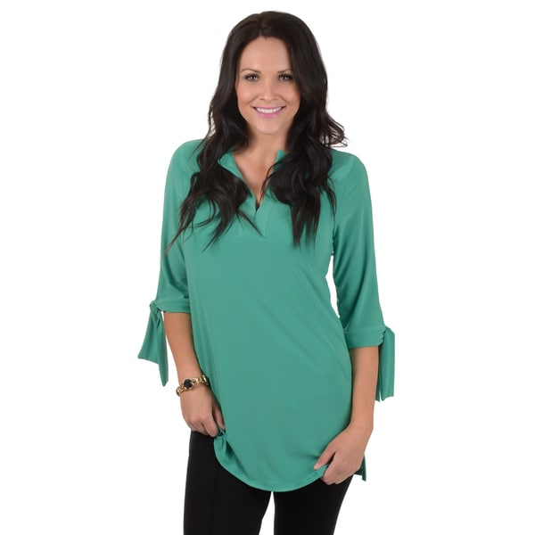 Timeless Comfort by Journee Three-quarter Sleeve Split Neck Tunic