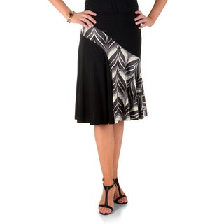 Timeless Comfort by Journee Printed Panel Flare Skirt