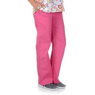 Journee Collection Women's Solid Color Elastic Waist Scrub Pants