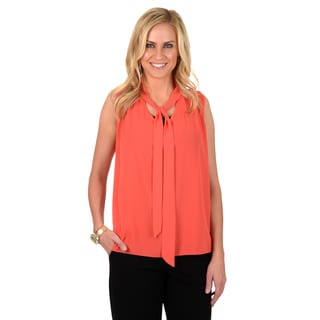 Journee Collection Women's Sleeveless Chiffon V-Neck Blouse