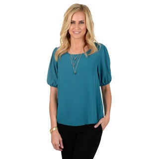 Journee Collection Women's Short-sleeve Chiffon Blouse
