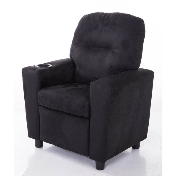 Comfortable KR2056BK Microfiber Kids Recliner with Cup Holder 15709049
