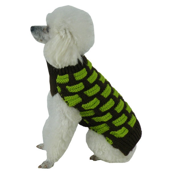 Green and Brown Fashion Weaved Heavy Knit Designer Ribbed Turtle Neck Dog Sweater 15709069