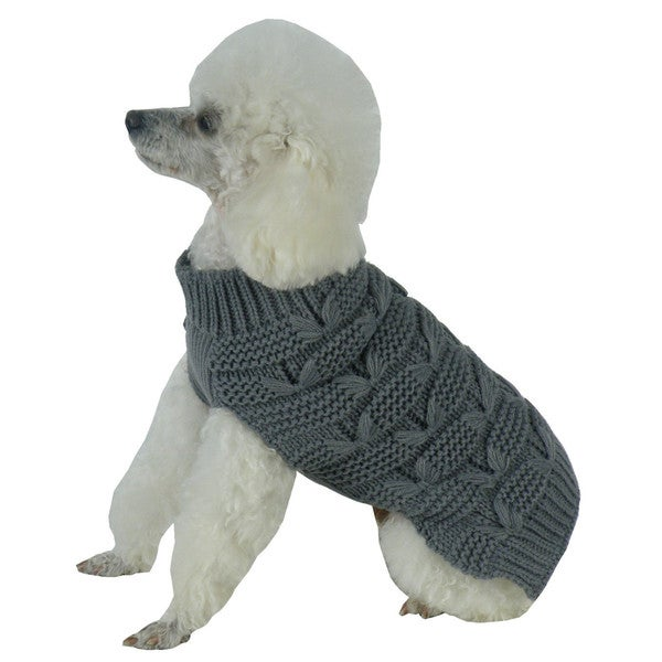 Solid Grey Butterfly Stitched Heavy Cable Knitted Fashion Turtle Neck Dog Sweater