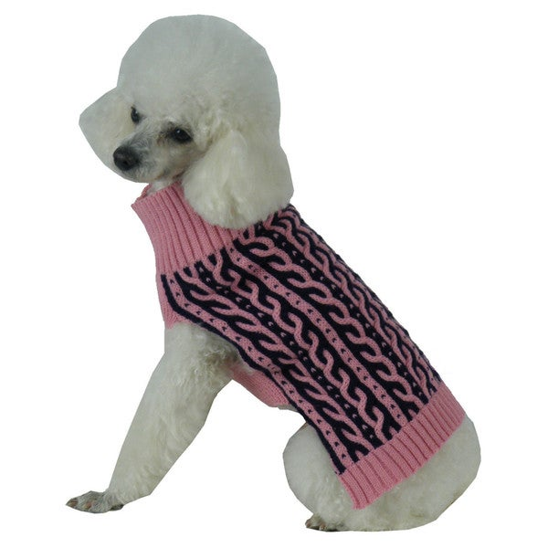 Pink with Black Harmonious Dual Color Weaved Heavy Cable Knitted Fashion Designer Dog Sweater