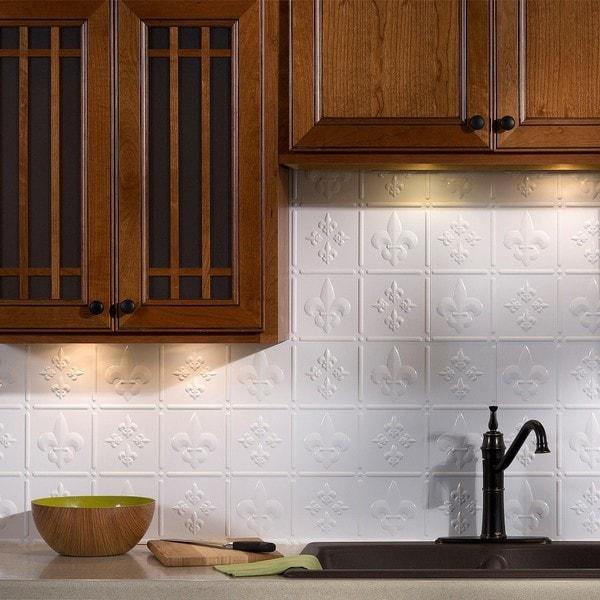 Brushed nickel backsplash tiles